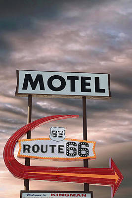 Route 66 Motel Sign Print by Donna Kennedy