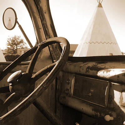 Old Trucks Digital Art - Route 66 - Parking At The Wigwam by Mike McGlothlen