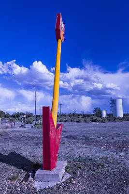 Weatherworn Photograph - Route 66 Red Arrow by Garry Gay