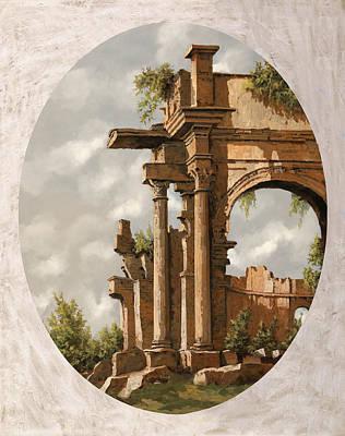 Columns Painting - Rovine Romane by Guido Borelli