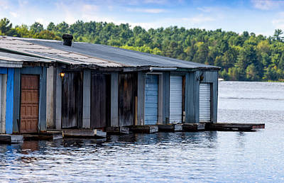 In A Row Photograph - Row Of Old Boathouses On Lake Muskoka by Panoramic Images