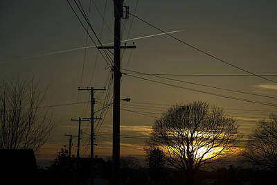 Telephone Poles Photograph - Row Of Telephone Poles With Jet by Todd Gipstein