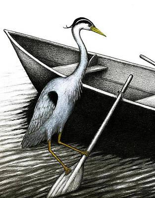 Row Boat Drawing - Row Vs Wade by Don McMahon