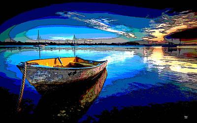 Rowboat Mixed Media - Rowboat At Sunset by Charles Shoup