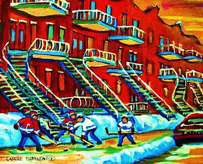 Montreal Streetlife Painting - Rowhouses And Hockey by Carole Spandau