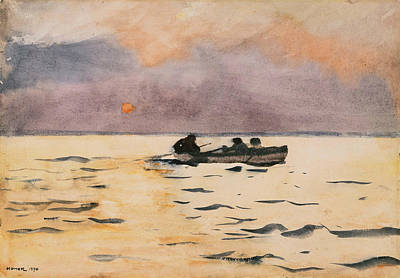 American Artist Painting - Rowing Home by Winslow Homer