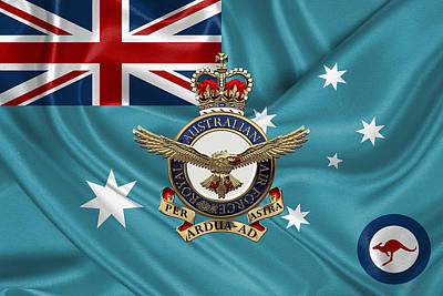 Royal Australian Air Force Badge Over R A A F  Ensign Original by Serge Averbukh