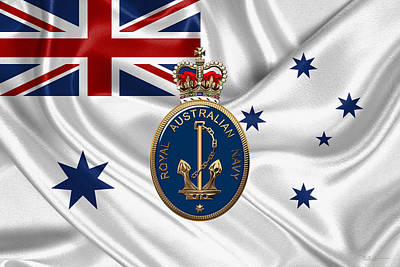 Royal Australian Navy Badge Over R A N  Ensign Original by Serge Averbukh