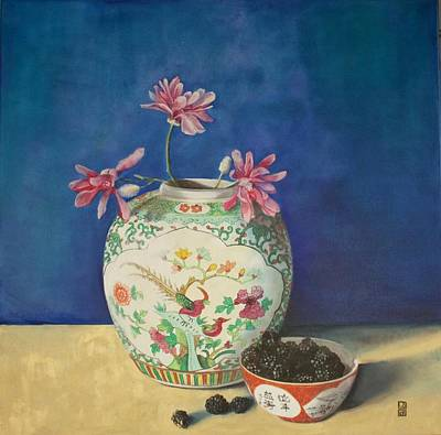 Royal Blue Chinoiserie Magnolia's Original by Leena Blom-Hilden