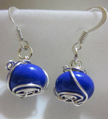 Wire Wrap Jewelry Jewelry - Royal Blue Wire Wrapped Earrings by Janet  Telander