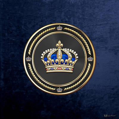 Royalty Digital Art - Royal Crown Of France Over Blue Velvet by Serge Averbukh