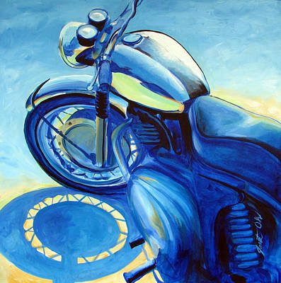 Motorcycle Painting - Royal Enfield by Janet Oh