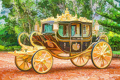 Old Wooden Wagon Painting - Royal Horse Carriage by Lanjee Chee