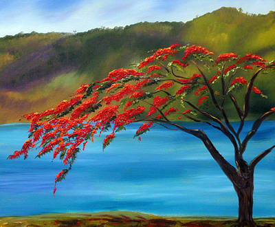 Flamboyan Tree Painting - Royal Poinciana Resort H by Maria Soto Robbins