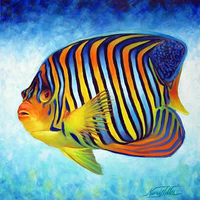 Angelfish Painting - Royal Queen Angelfish by Nancy Tilles