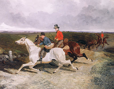 Sprinting Painting - Royal Servants On The Road To Windsor by John Frederick Herring Snr