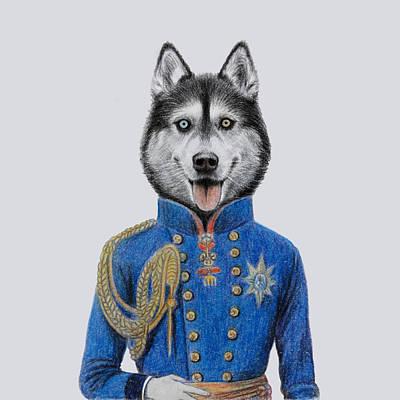 Siberian Husky Drawing - Royal Siberian Husky by Wind Zao