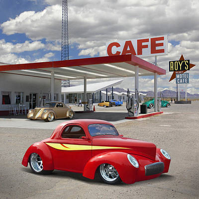 Motel Digital Art - Roy's Gas Station - Route 66 2 by Mike McGlothlen