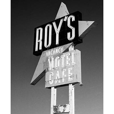 Desert Photograph - Roy's Motel And Cafe Sign In Amboy by Alex Snay