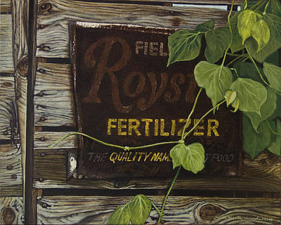 Royston Fertilizer Sign Print by Peter Muzyka