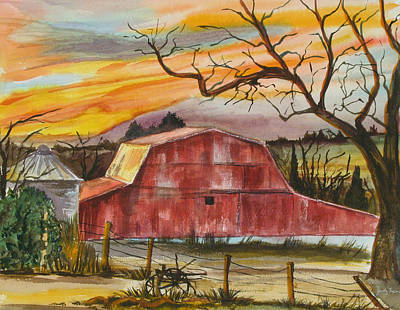 Rt 66 Barn Outside Davenport Oklahoma Print by Judy Loper