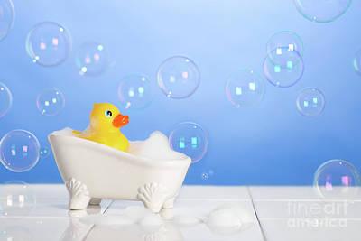 Rubber Duck In Bath Print by Amanda Elwell