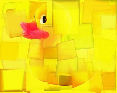 Duck Mixed Media - Rubber Ducky Cubism by Dan Sproul