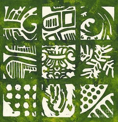 Rubbing Patterns Linocut Print by Kayla Race
