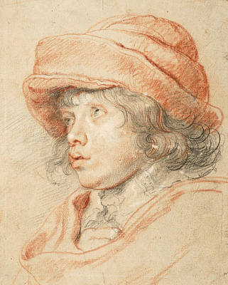 Flemish Drawing - Rubens's Son Nicolaas Wearing A Red Felt Cap by Peter Paul Rubens