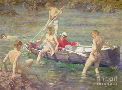 Boys Swimming Painting - Ruby Gold And Malachite by Henry Scott Tuke