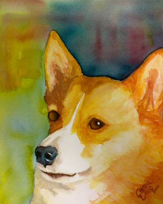 Ruby The Corgi Print by Cheryl Dodd