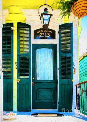 Charming Cottage Digital Art - rue de Chartres- NOLA- Painted by Kathleen K Parker