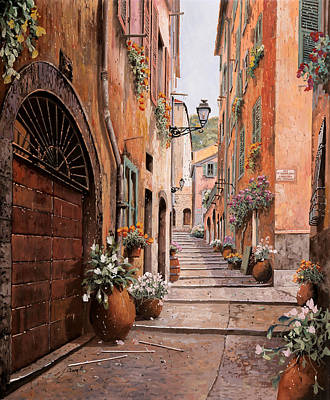 Monaco Painting - rue Malonat in  Nice by Guido Borelli