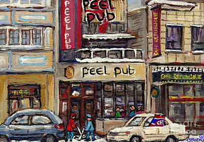 Montreal Cityscenes Painting - Rue Peel Montreal Winter Street Scene Paintings Peel Pub Cafe Republique Hockey Scenes Canadian Art by Carole Spandau