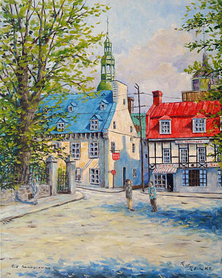 Quebec Cities Painting - Rue Ste Anne 1965 by Richard T Pranke