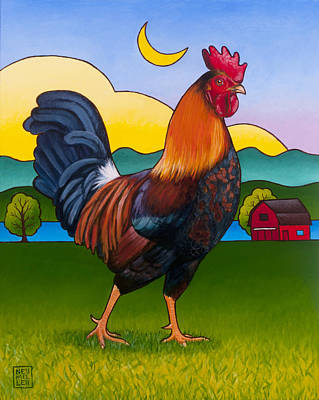 Moon Painting - Rufus The Rooster by Stacey Neumiller