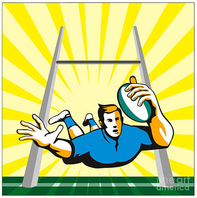 Rugby Player Try Print by Aloysius Patrimonio
