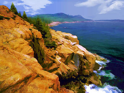 Rugged Coast Of Maine At Acadia National Park Print by Elaine Plesser