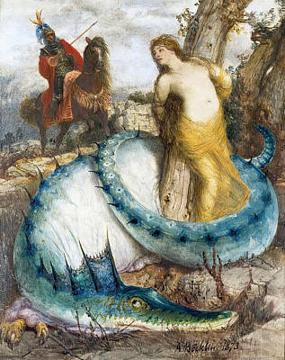 Arnold Boecklin Painting - Ruggiero And Angelica by Arnold Boecklin