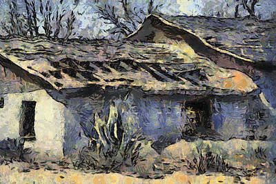 Ruins Mixed Media - Ruin On Shalem Colony by Elaine Frink