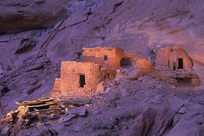 Ruins Of Ancient Pueblo Indian Or Print by Ira Block