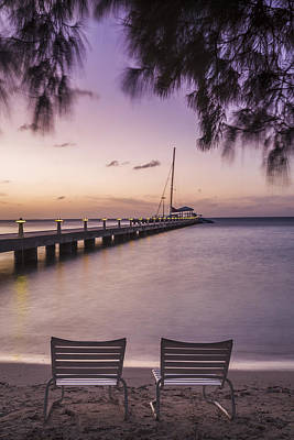 Violet Photograph - Rum Point Beach Chairs At Dusk by Adam Romanowicz