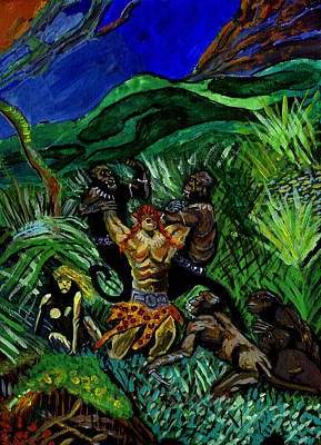 Fantasy Painting - Rumble In The Jungle by Andrew Broadbent