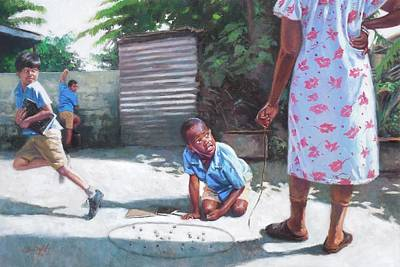 Black Kid Playing Painting - Run by Colin Bootman
