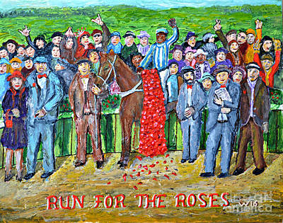 Horse In The Run Painting - Run For The Roses by Richard Wandell