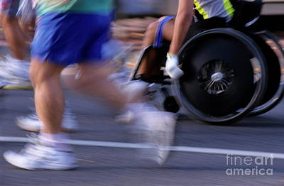 Disabled Sports Photograph - Runners And Disabled People In Wheelchairs Racing Together by Sami Sarkis