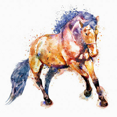 Modern Digital Art Digital Art Digital Art - Running Horse by Marian Voicu