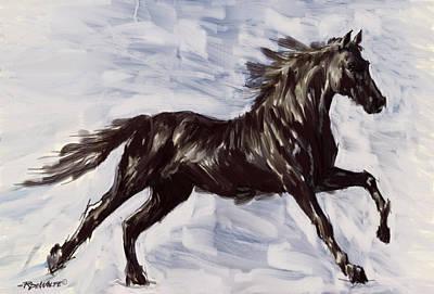 Running Horse Print by Richard De Wolfe