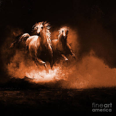 Horse Painting - Running Horses by Gull G