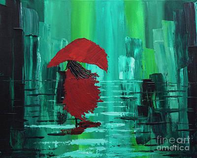 One Stroke Painting - Running In The Rain by Billie Anzevino